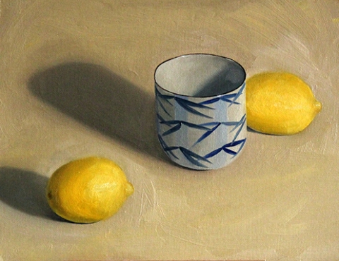 bamboo cup with lemons