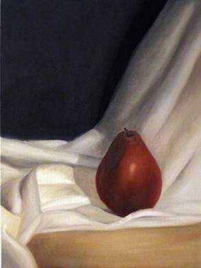 red pear white cloth
